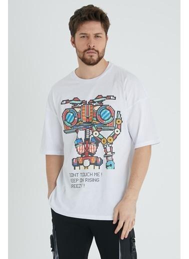 XHAN Hardal Robot Kafa Baskılı Oversize T-Shirt  Beyaz